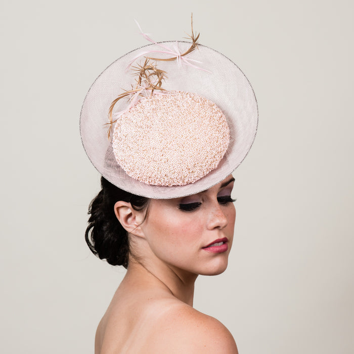 Alicia 1 pale pink sinamay sequin saucer hat by Milli Starr