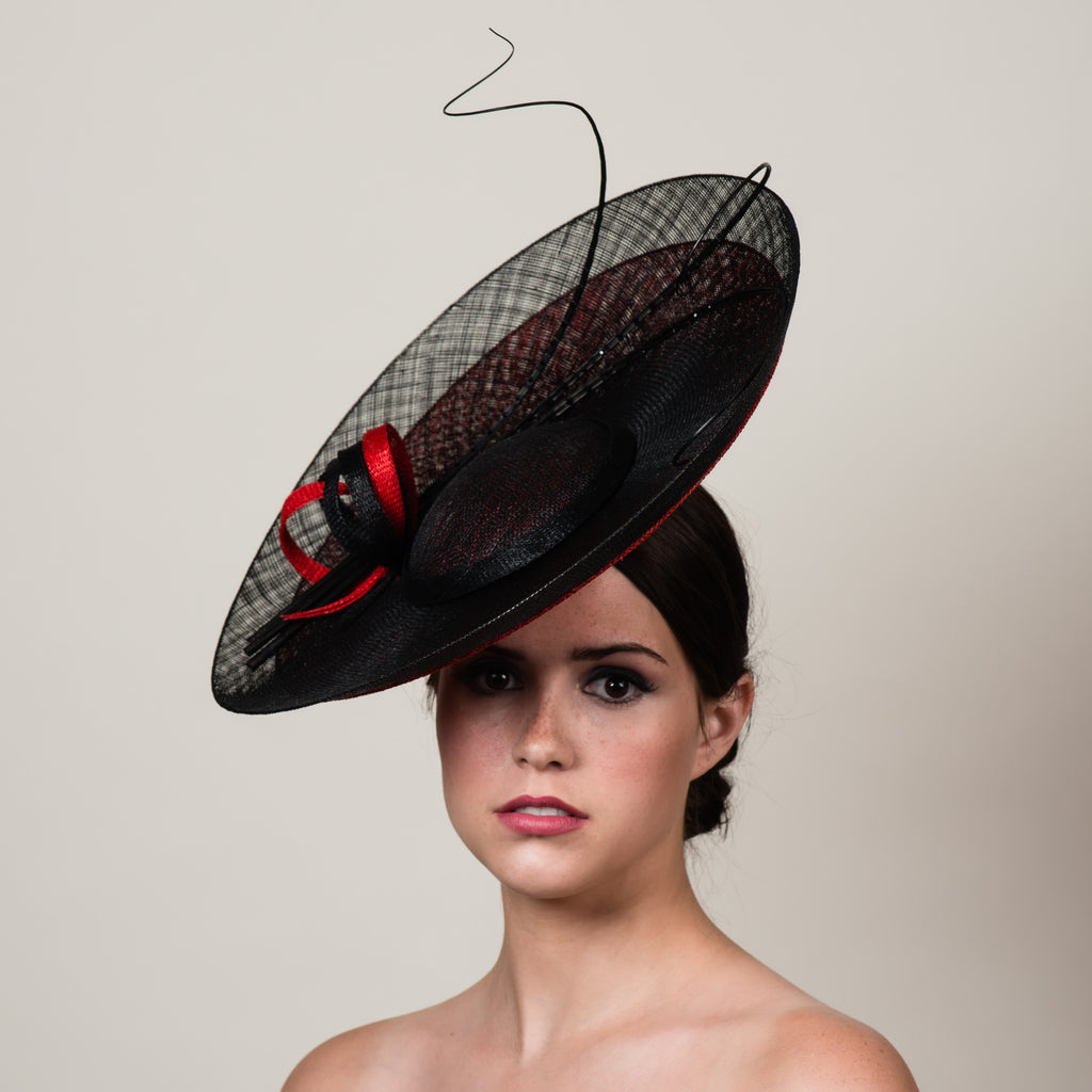 Daphne 2 black red sinamay saucer hat with quills by Milli Starr