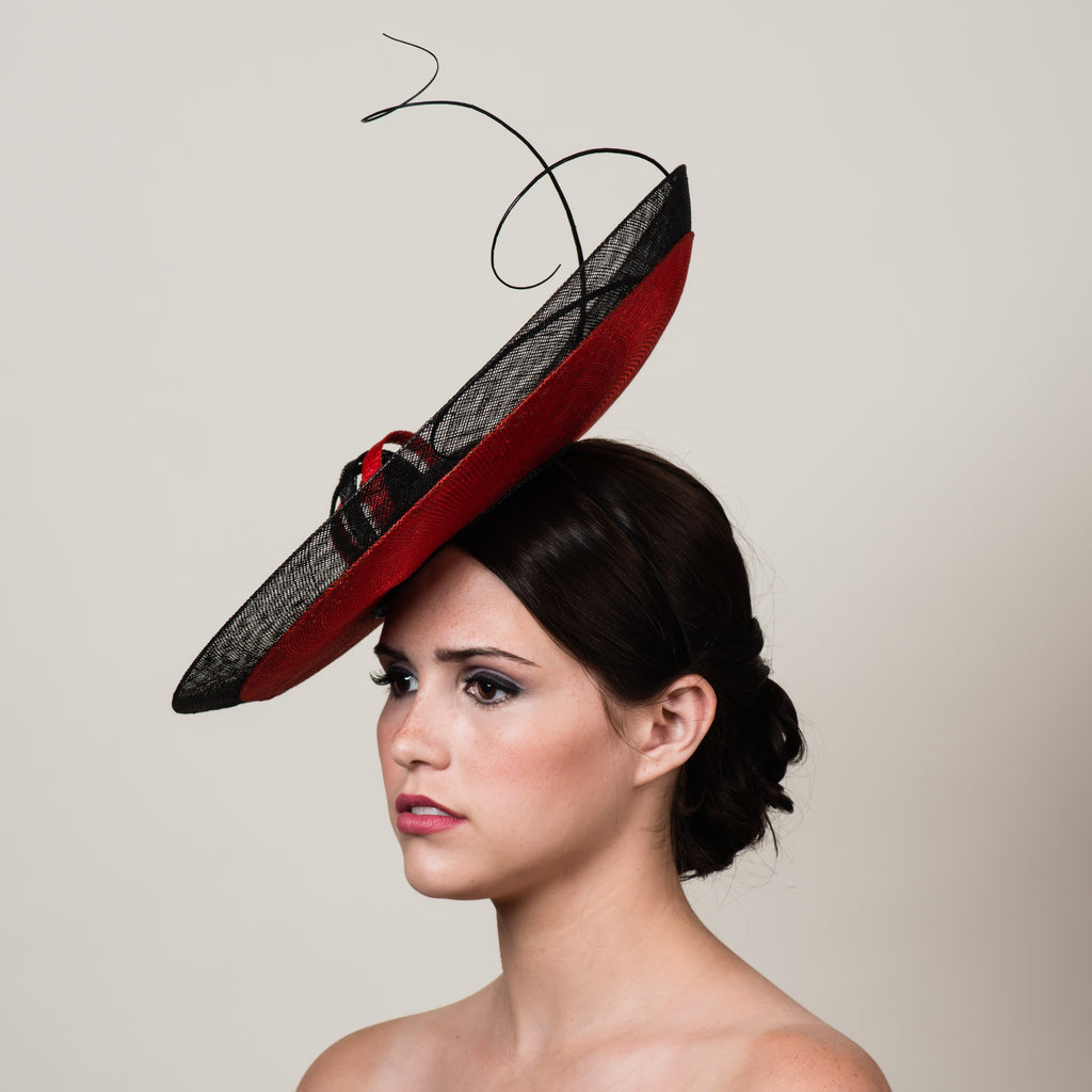 Daphne 5 black red sinamay saucer hat with quills by Milli Starr