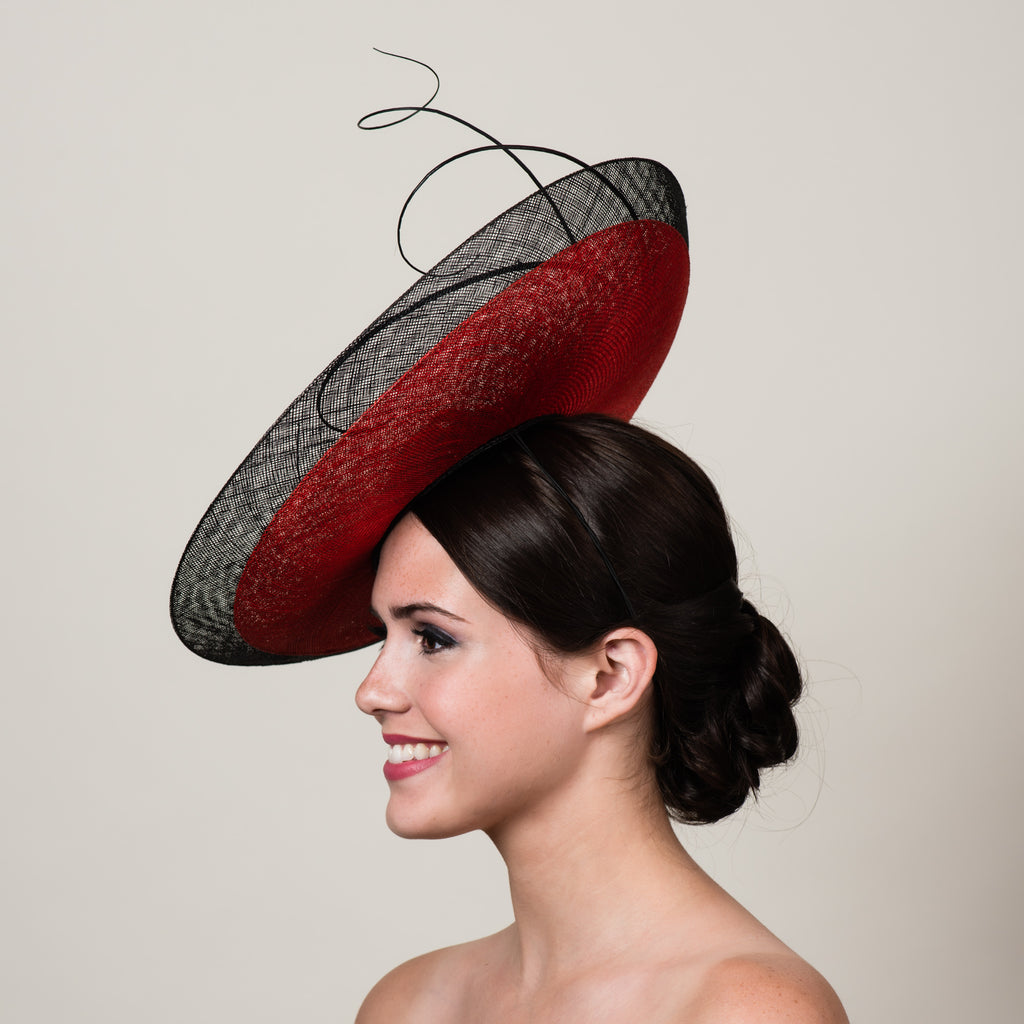 Daphne 3 black red sinamay saucer hat with quills by Milli Starr