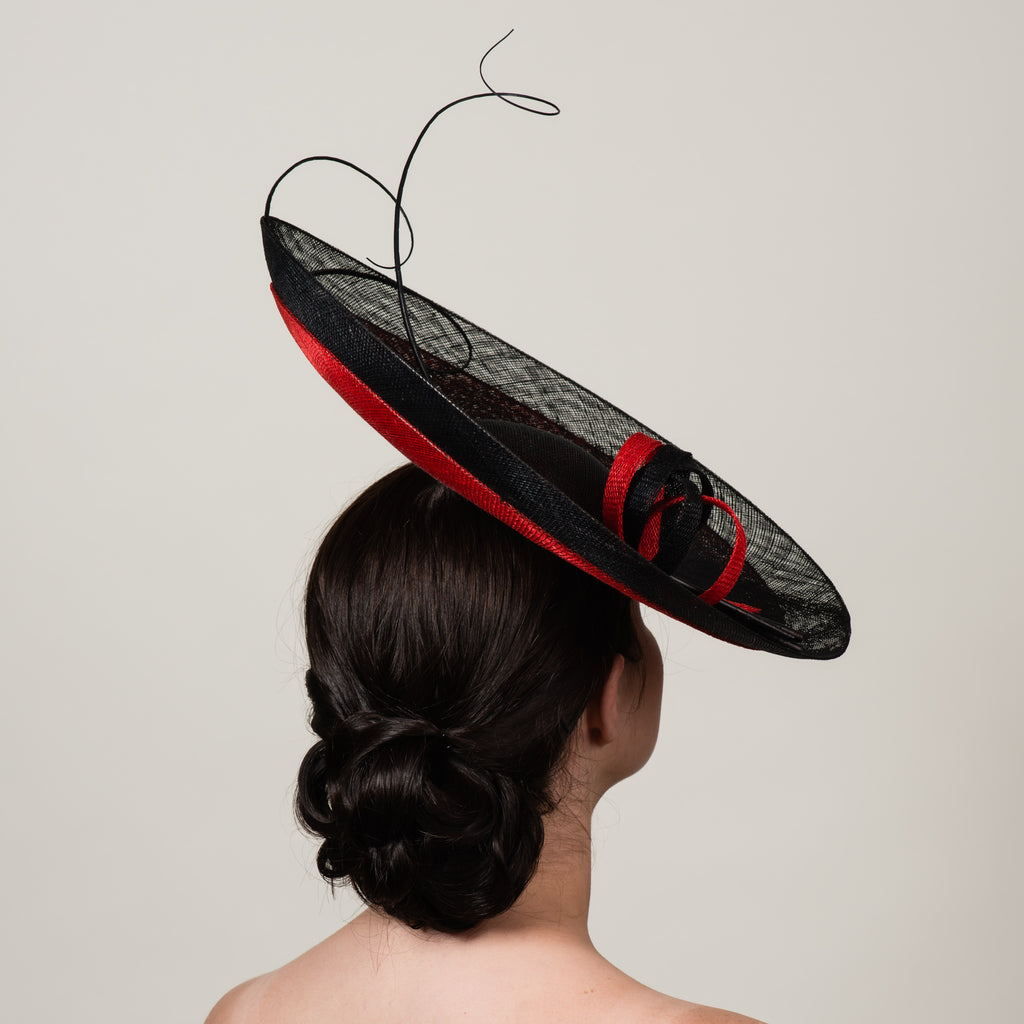 Daphne 4 black red sinamay saucer hat with quills by Milli Starr