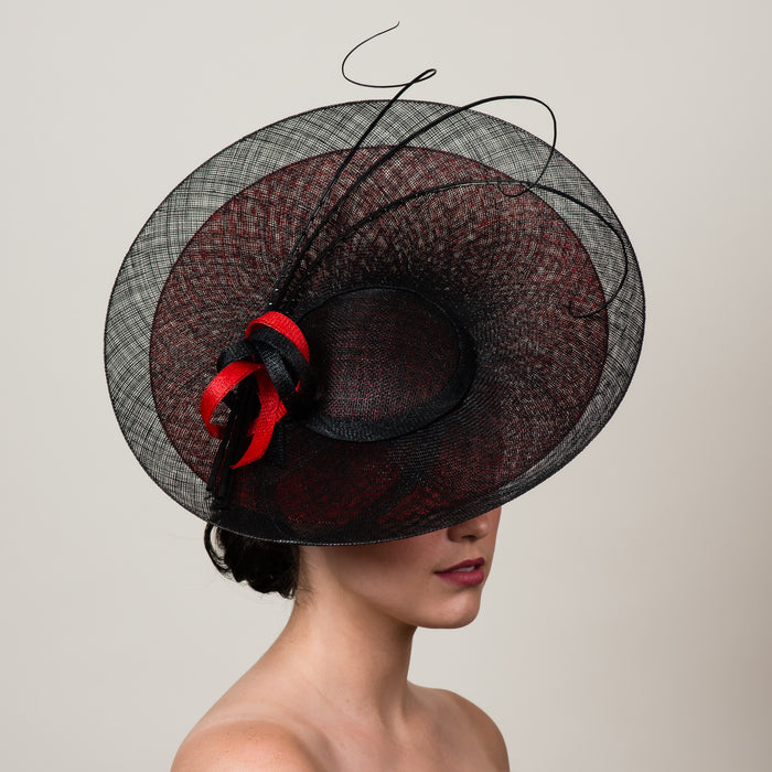 Daphne 1 black red sinamay saucer hat with quills by Milli Starr
