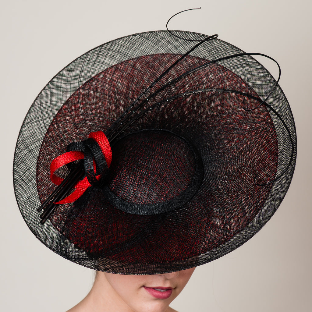 Daphne 6 black red sinamay saucer hat with quills by Milli Starr