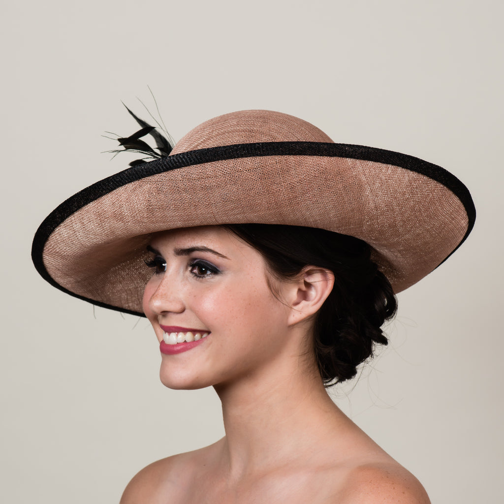 Sherilyn 2 latte brown sinamay upturn brim hat by Milli Starr