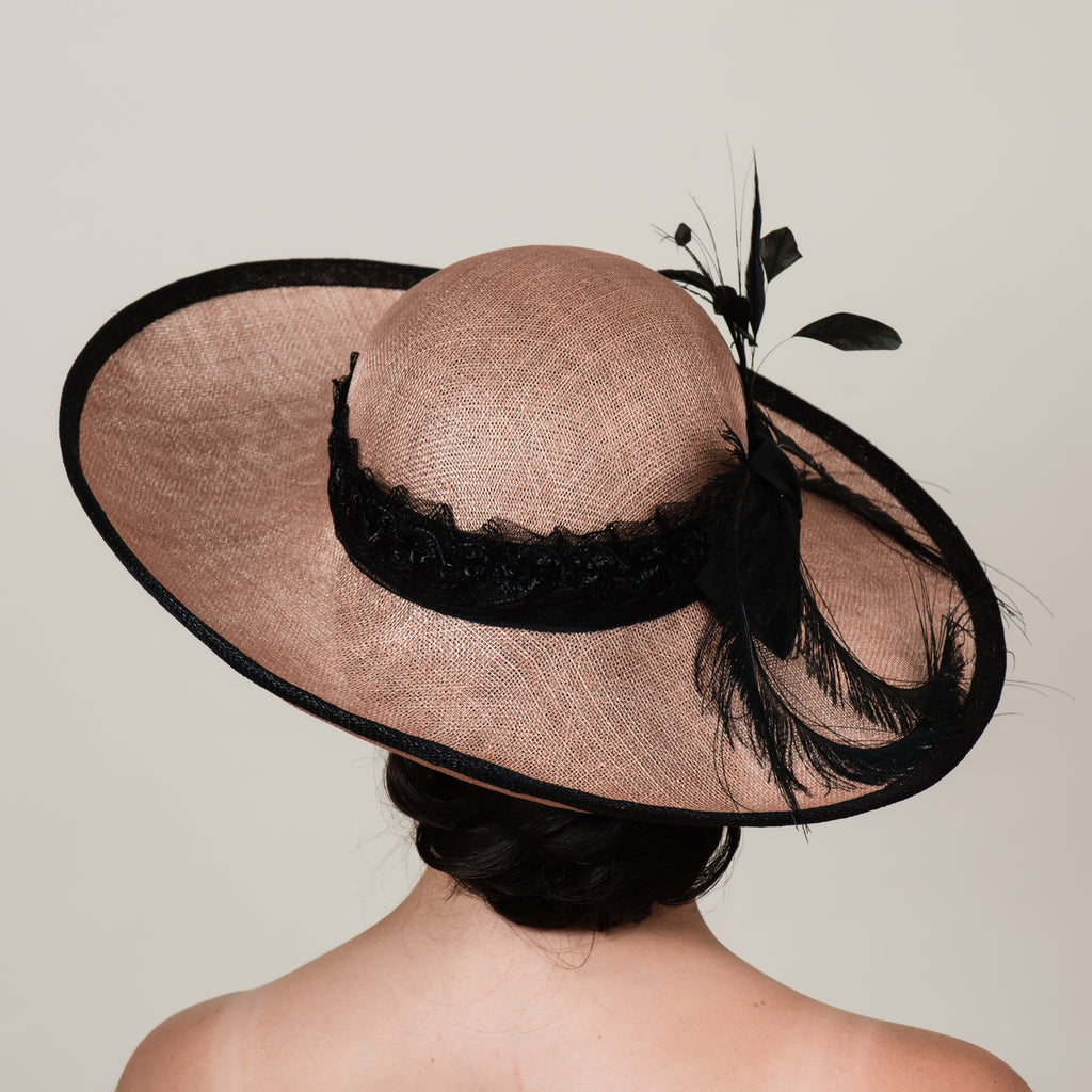 Sherilyn 3 latte brown sinamay upturn brim hat by Milli Starr