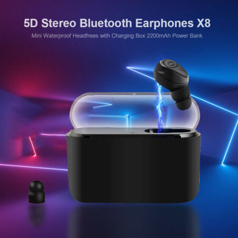Bluetooth 5.0 Headset TWS Wireless Earphones Single Earbud 5D Stereo Headphones