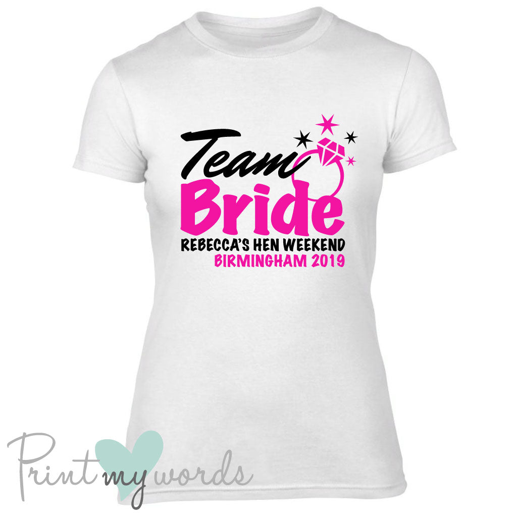 0d2d48f8 Personalised Team Bride Hen Party T-shirt – Print My Words