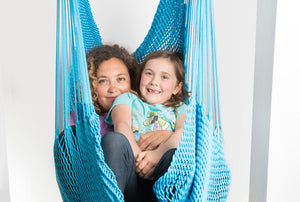Mothers day gift idea - Hammock Swing - Mother and daughter are in a blue net swing together