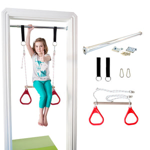 Doorway Trapeze Bar and Gym Rings Combo - Red - DreamGYM