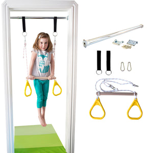 Doorway Trapeze Bar and Gym Rings Combo - Yellow - DreamGYM