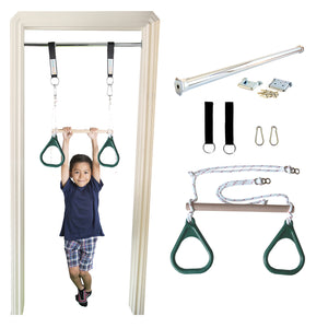 Doorway Trapeze Bar and Gym Rings Combo - Green - DreamGYM