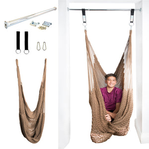 Doorway Therapy Net Swing - Cozy Brown - DreamGYM