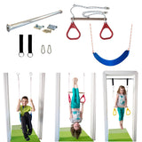 Doorway Trapeze Bar and Gym Rings Combo and Belt Rope Swing Kit