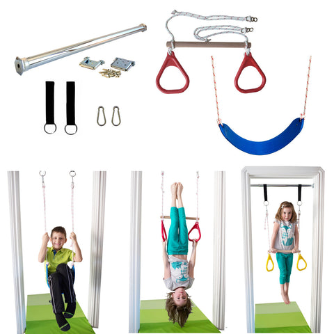 Doorway Trapeze Bar and Gym Rings Combo and Belt Rope Swing Kit - DreamGYM