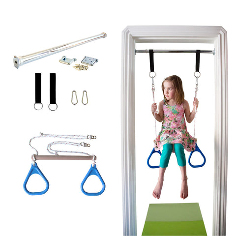 Doorway Trapeze Bar and Gym Rings Combo - Blue - DreamGYM
