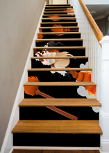 Load image into Gallery viewer, Flaming Broomsticks - 15 Stair Risers
