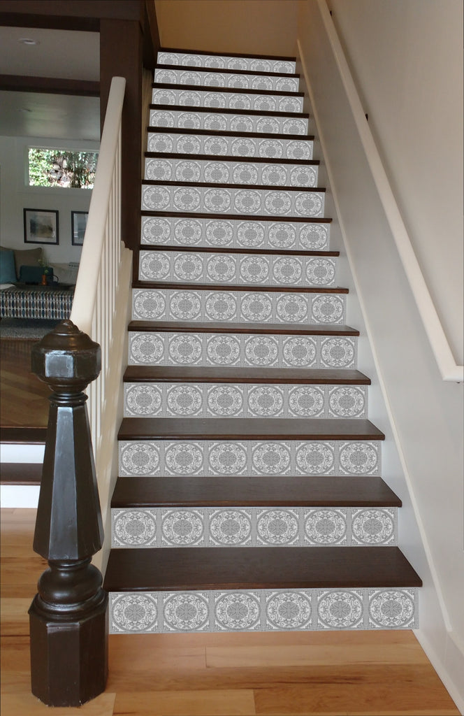Great Grey Mosaic Tile Painted Stairway, 15 Stairs