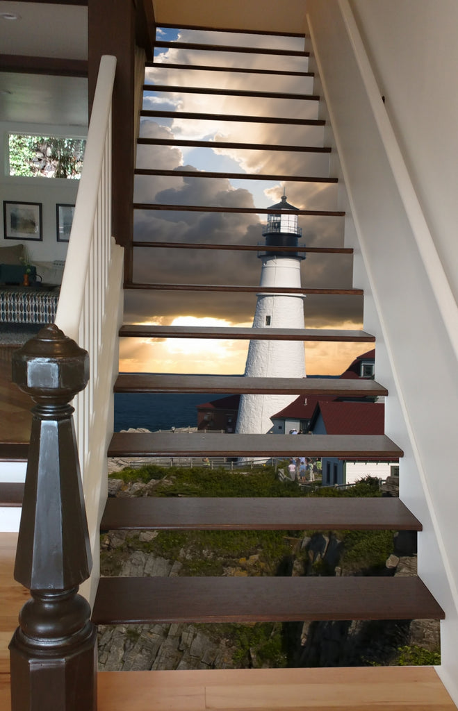 Lighthous At Dawn Riserart Adhesive Backed Vinyl Stair