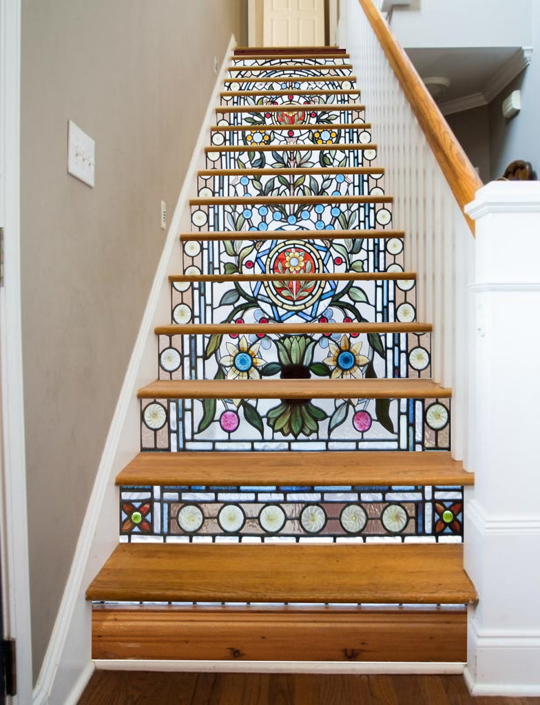Painted stairways stained glass flowers riserart for Drawing decoration ideas