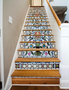 Stained Glass Flowers, 16 Stairs