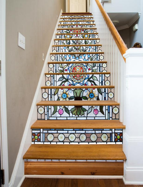 Stained Glass Flowers, 15 Stairs