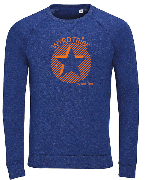 Wyrd Bird sweatshirt - WyrdTribe Heather indigo vintage - orange design (limited edition)