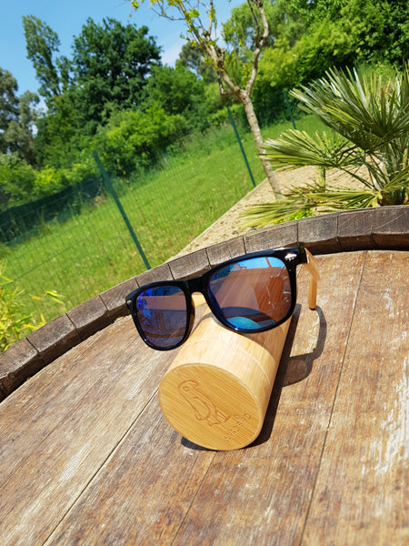 Sunglasses - ice blue mirror - black frame - bamboo arms
