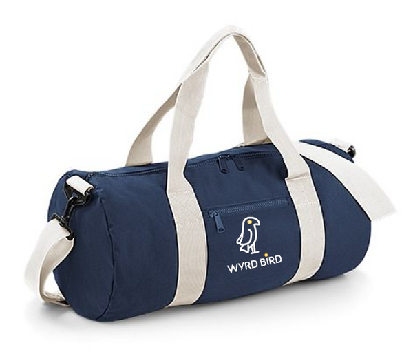 Wyrd Bird - blue & white - embroidered Barrel bag - 20l