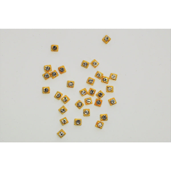 Gold Square Jewel Nail Charms