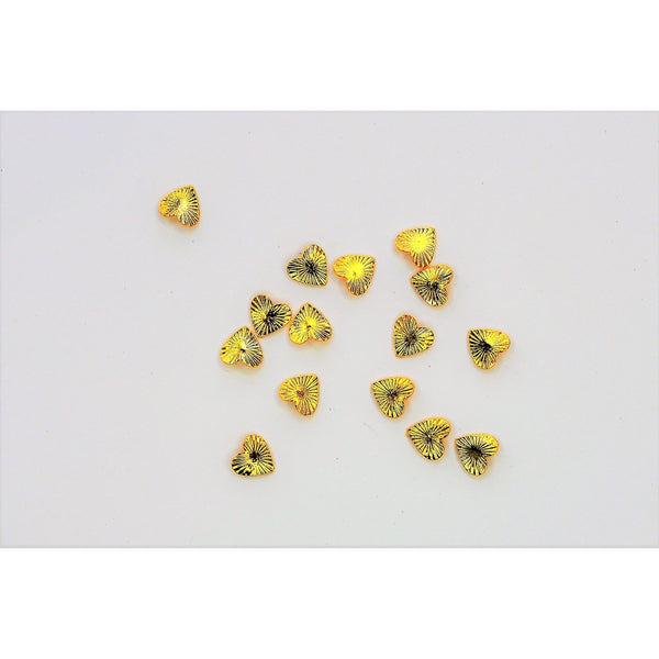 Gold Heart Nail Charms