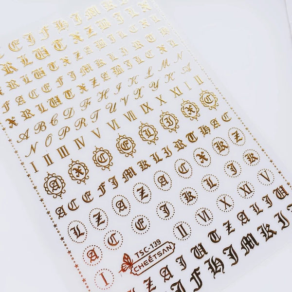 Gold Letters Nail Stickers