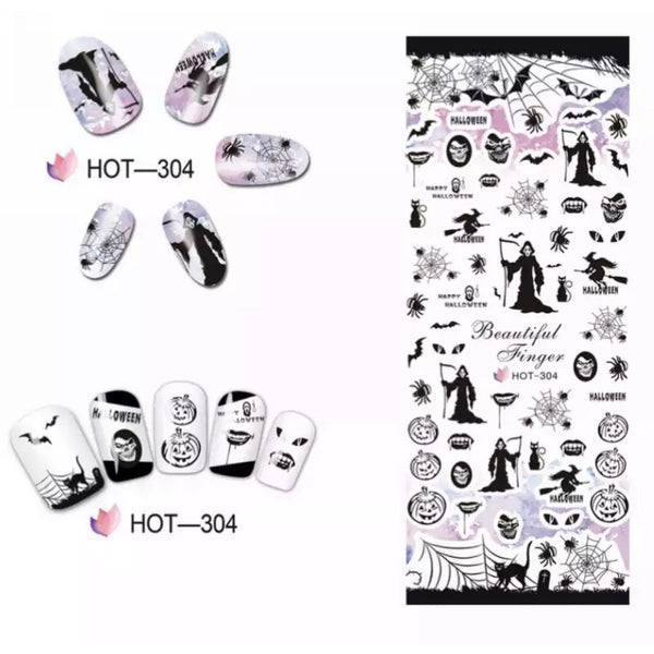 3 Pack Set Halloween Nail Decals