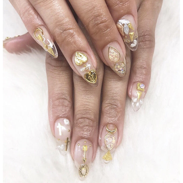 Gold Cross Nail Charms