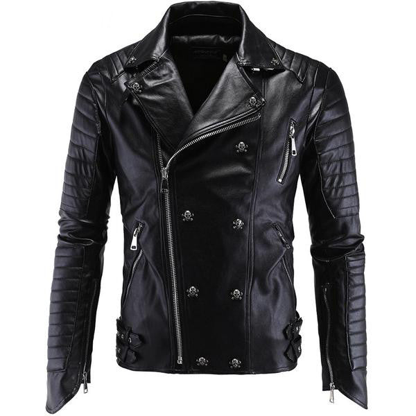 Leather Jacket Men Turn-down Collar - Fashlabz Canada