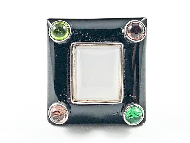 Unique Rectangle Shape With Multi Color Corner Crystals & Center Rectangle Pink Stone Brass Ring