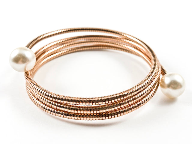 Modern Multi Wrap Around Coil Design Pearl Ends Pink Gold Tone Brass Bracelet Bangle