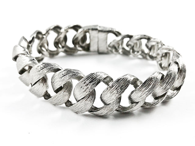 Nice Large Thick Chain Link Brushed Textured Magnetic Brass Bracelet