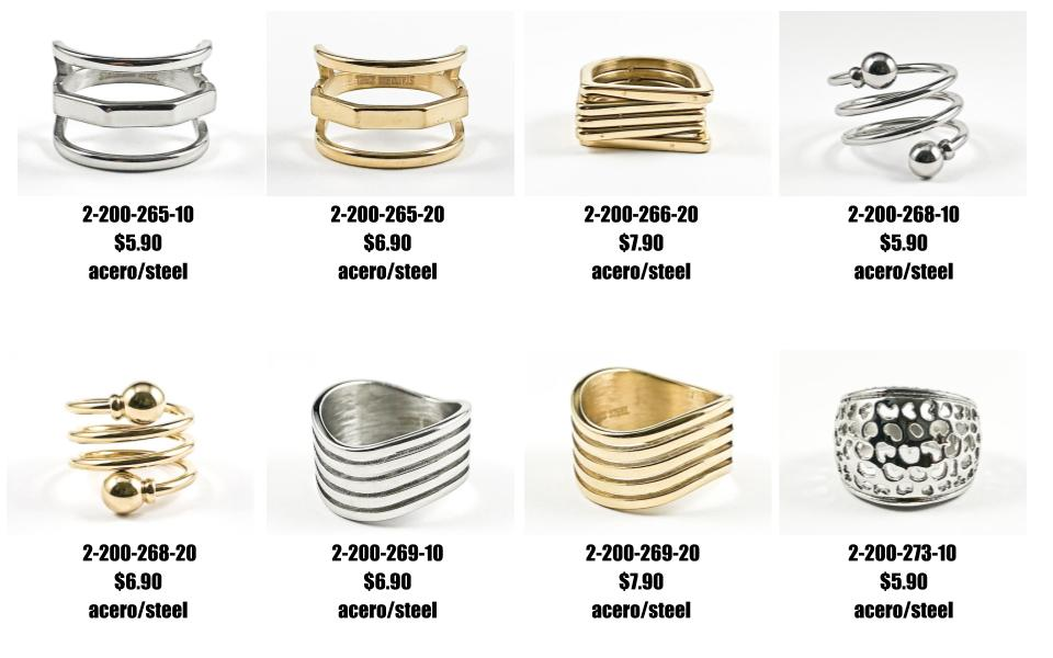 Just Added: Modern geometric shiny metallic steel rings