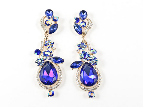 Fancy Floral Sapphire Color Fashion Earrings