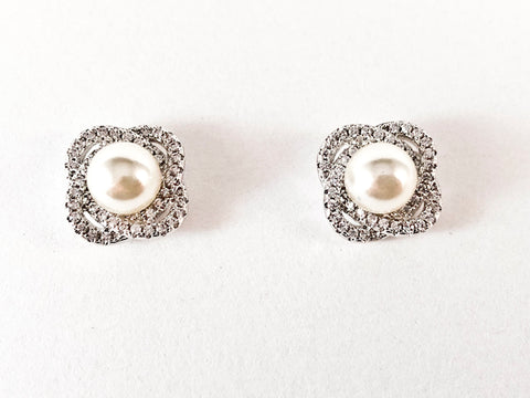Unique CZ Knot Design With Center Pearl Brass Earrings