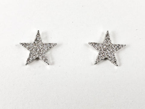 Cute Micro Setting Star Shape CZ Brass Earrings