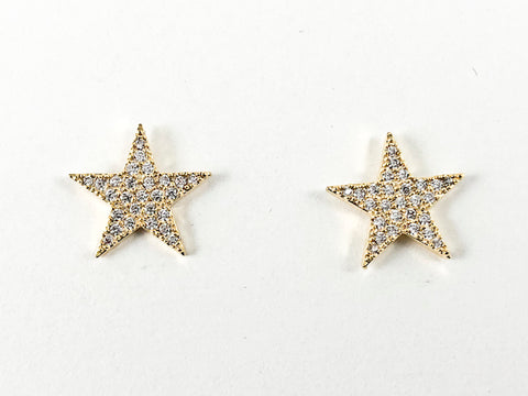 Cute Micro Setting Star Shape Gold Tone CZ Brass Earrings
