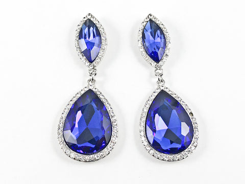 Fancy Royal Blue Color Drop Fashion Earrings