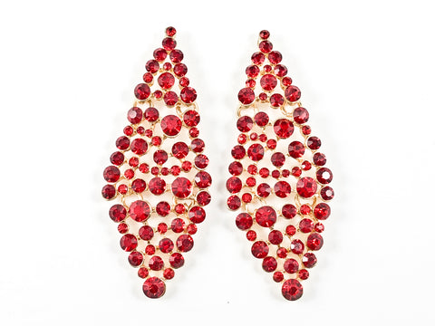 Fancy Diamond Shape Red Color Fashion Earrings