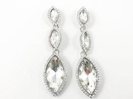 Marquise Shape 3 Layer Dangling Design Fashion Earrings