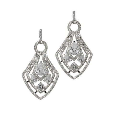 Classic & Unique Diamond Shaped Design CZ Brass Earrings