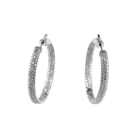 Classic & Fine In & Out CZ Hoop Earring