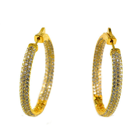 Classic In & Out Micro Pave CZ Gold Tone Brass Hoop Earrings