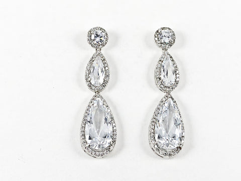 Classic Elegant 3 Row Multi Shape CZ Brass Dangle Brass Earrings