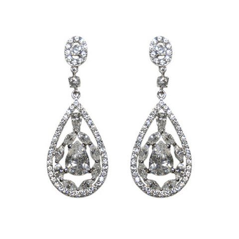 Classic & Elegant CZ Dangle Brass Earrings